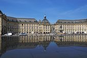 BORDEAUX, FRANCE - JUNE 27: Place de la Bourse reflected in the water mirror in Bordeaux, France on