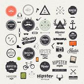 foto of funky  - Hipster style infographics elements and icons set for retro design - JPG