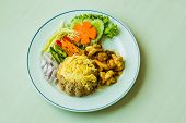Thai Healthy Meal With Fresh Vegetables And Shrimps Served With Rice And Egg