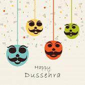 foto of dussehra  - Indian festival Happy Dussehra concept with the hanging mask on celebration background - JPG