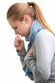 pic of politeness  - portrait of an young woman coughing with fist - JPG