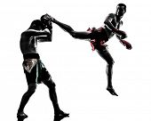 pic of muay thai  - two caucasian  men exercising thai boxing in silhouette studio  on white background - JPG