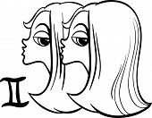 picture of gemini  - Black and White Cartoon Illustration of Gemini or The Twins Horoscope Zodiac Sign for Coloring Book - JPG