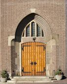 Wooden Entrance Door Of Church