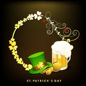 Happy St. Patrick's Day celebration poster, banner or flyer with beer mug, hat on golden clover leav