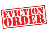 image of eviction  - EVICTION ORDER red Rubber Stamp over a white background - JPG