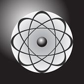 image of neutrons  - Abstract model of the atom on dark gradient background - JPG