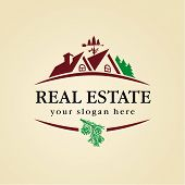 stock photo of real  - logo for cottage town or suburban real estate agency - JPG