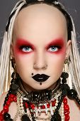 picture of freaky  - Portrait of stylish freaky girl with white dreads and fancy make - JPG