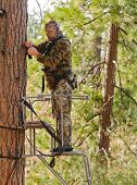 pic of harness  - Bow hunter in a ladder style tree stand correctly attaching a fall arrest harness to a strap around the tree - JPG
