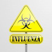 picture of influenza  - detailed illustration of a yellow influenza biohazard warning sign - JPG