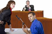 stock photo of courtroom  - corrupt judge taking bribe in an unfair courtroom trial - JPG