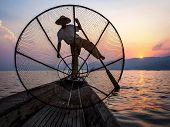 pic of shan  - Fisherman in Inle Lake at sunset - JPG