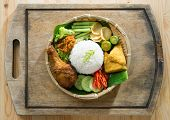 stock photo of malaysian food  -  Delicious nasi ayam penyet with sambal belacan - JPG