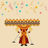 image of ravana  - Illustration of a Ravana statue with his ten heads on colorful stars and ribbons decorated background for Happy Dussehra festival - JPG