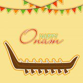 image of onam festival  - Traditional wooden snake boat and stylish text Happy Onam - JPG