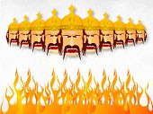 image of sita  - Illustration of angry Ravana with his ten heads wearing golden crown with fire on a whit and grey wintage background - JPG