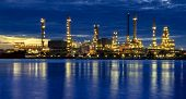 picture of greenpeace  - Oil refinery at twilight - JPG