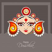 image of nose ring  - Illustration of the face of Goddess Durga with beautiful eyes wearing a golden nose ring and a heavy colourful crown decorated with red and white pearls - JPG