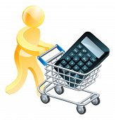 stock photo of trolley  - Calculator mouse trolley man a man pushing a shopping cart trolley with a calculator in it - JPG