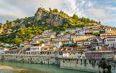 picture of albania  - View at the old city of Berat  - JPG