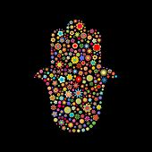 pic of hamsa  - illustration of hamsa shape made up a lot of multicolored small flowers on the black background - JPG