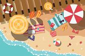 stock photo of sunny beach  - Summer beach in flat design - JPG
