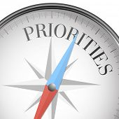 pic of priorities  - detailed illustration of a compass with priorities text - JPG
