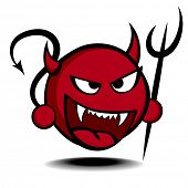 pic of trident  - detailed illustration of a stylized red devil with trident - JPG
