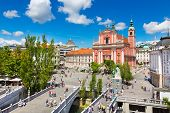 stock photo of church  - Romantic Ljubljana city center - JPG