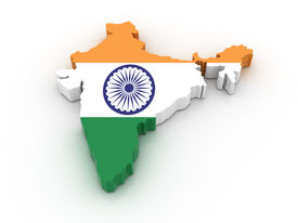 picture of indian flag  - Three dimensional map of India in Indian flag colors - JPG