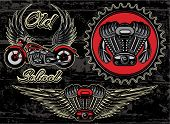 pic of motorcycle  - vector set of retro emblems on the motorcycle theme - JPG