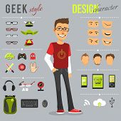 foto of geek  - Geek style design character set with backpack computer keyboard web camera isolated vector illustration - JPG