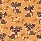 picture of little puppy  - Seamless pattern with little cute cartoon puppy - JPG
