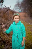 picture of scared baby  - Portrait of baby girl in fairy forest - JPG