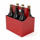 picture of six pack  - Six pack of dark beer bottles on white background - JPG