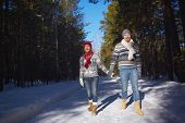 stock photo of amor  - Amorous and ecstatic couple taking walk in winter forest - JPG