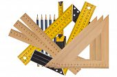 stock photo of measurements  - Metallic tool to measure right angle triangle and wooden ruler pencil and tape measure on a white background - JPG