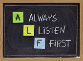 Always Listen First - Alf Acronym