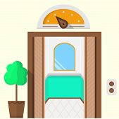 pic of elevators  - Flat colorful vector icon for hotel with opened doors elevator with mirror inside - JPG