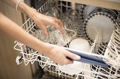 picture of dishwasher  - Close view at the usage of a dishwashing machine - JPG