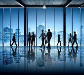 foto of board-walk  - Busy Business People Silhouette Walking Company Office Building - JPG