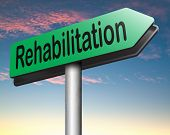 stock photo of drug addict  - rehabilitation rehab for drugs alcohol addiction or sport and accident injury physical or mental therapy road sign arrow  - JPG