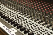 stock photo of gaffer tape  - Church sound board with gaffer tape labels
