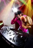 picture of rapper  - Cool African American male DJ playing music at a party - JPG