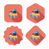 picture of cylinder pyramid  - Train Toy Flat Icon With Long Shadow - JPG