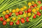 stock photo of greenery  - Still life from tomato and to different greenery - JPG