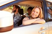 pic of road trip  - Group Of Friends In Car On Road Trip Together - JPG