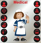 picture of matron  - Nurse with a selection of medical icons - JPG