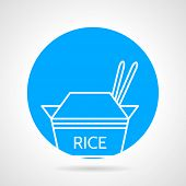 pic of chinese menu  - Abstract round blue vector icon with white line elements of take - JPG